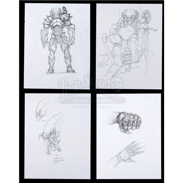 Lot # 471: AVP: ALIEN VS. PREDATOR (2004) - Four Hand-Drawn Predator and Predalien Concept Sketches