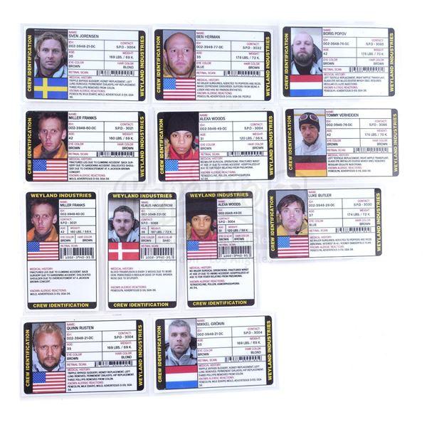 Lot # 473: AVP: ALIEN VS. PREDATOR (2004) - Set of Weyland Industries IDs