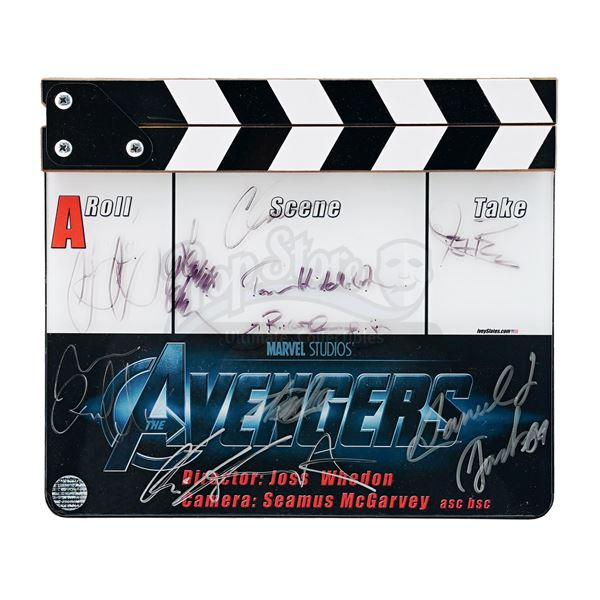 Lot # 483: THE AVENGERS (2012) - Framed Cast-Autographed Clapperboard