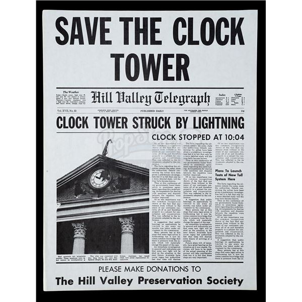 Lot # 487: BACK TO THE FUTURE (1985) - Save The Clock Tower Flyer