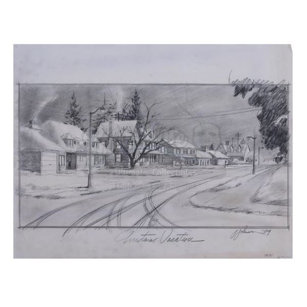 Lot # 910: NATIONAL LAMPOON'S CHRISTMAS VACATION (1989) - Hand-Drawn Jack Johnson Griswold House Con