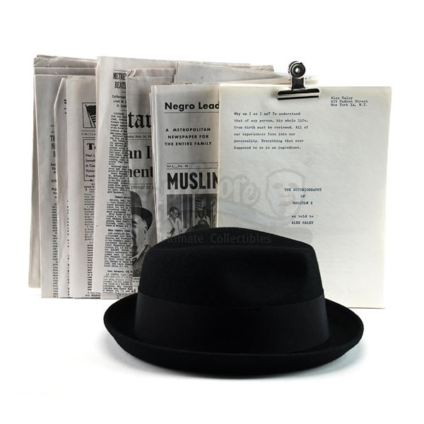 Lot # 935: ONE NIGHT IN MIAMI (2020) - Malcolm X's (Kingsley Ben-Adir) Hat, Newspapers and Manuscrip
