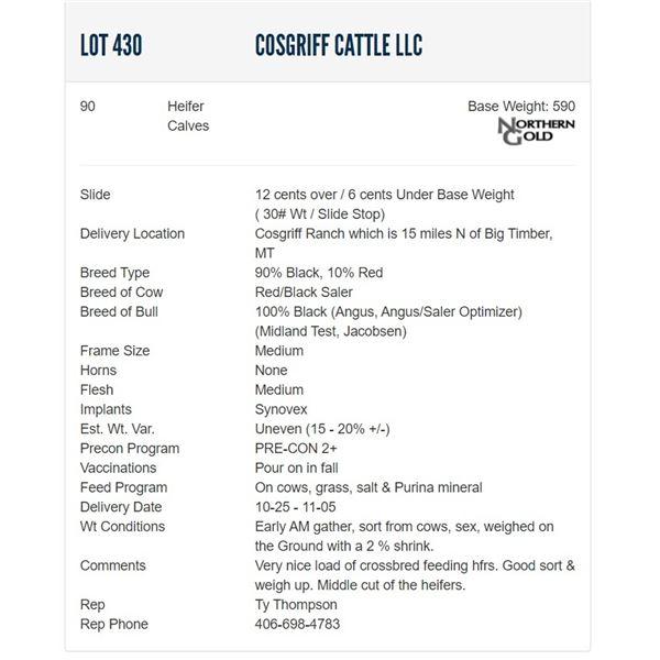 Cosgriff Cattle LLC - 90 Heifers  / Base Weight: 590