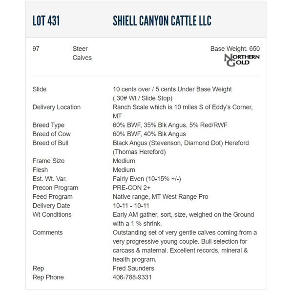 Shiell Canyon Cattle LLC - 97 Steers  / Base Weight: 650