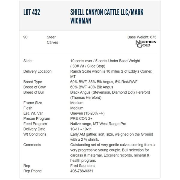 Shiell Canyon Cattle LLC/Mark Wichman - 90 Steers  / Base Weight: 675