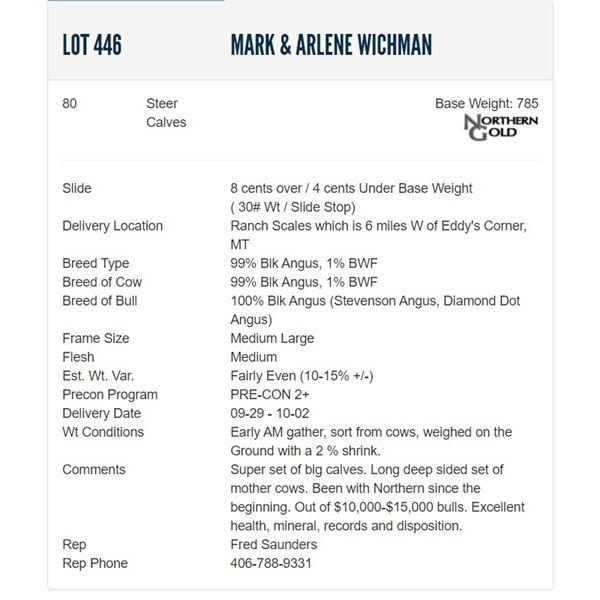 Mark & Arlene Wichman - 80 Steers  / Base Weight: 785