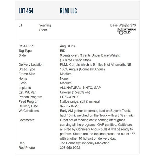 RLMJ LLC - 61 Steers  / Base Weight: 970