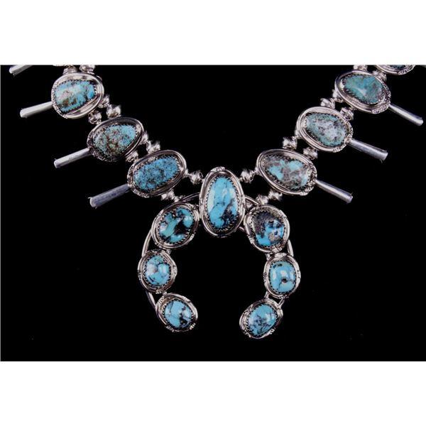 Navajo G Etsitty Silver & Turquoise Squash Blossom