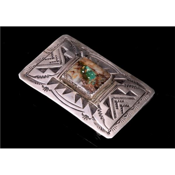Navajo Henry Baca Sterling Silver Agate Buckle