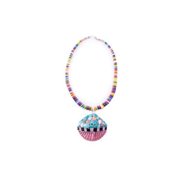 Santo Domingo Inlaid Shell & Multi Stone Necklace