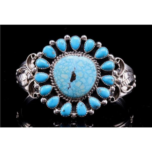 Navajo Lenora Begay Silver & Turquoise Bracelet