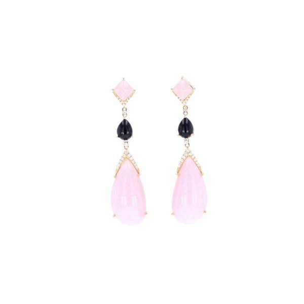 Pink Opal & Onyx Diamond 18k Yellow Gold Earrings