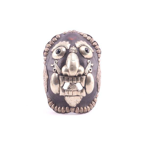 Kapala Tibetan Silver Turtle Shell Embossed Mask