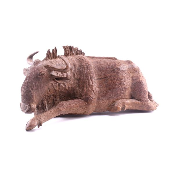 South African Hand Carved Leadwood Wildebeest