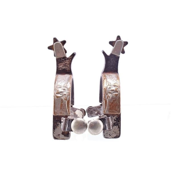 Kelly Bros & Parker Silver Overlay Spurs c 1909-19