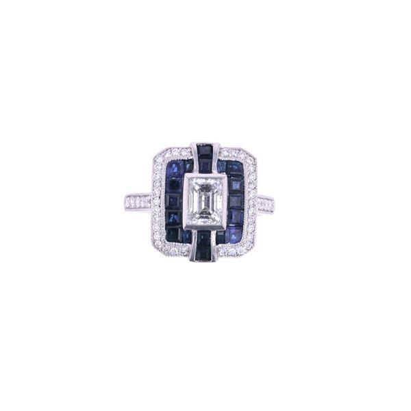 Art Deco Blue Sapphire & Diamond Platinum Ring