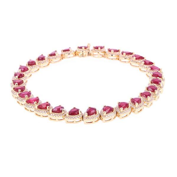 9.83 cts. Ruby & 1.41 cts. Diamond 18k Bracelet