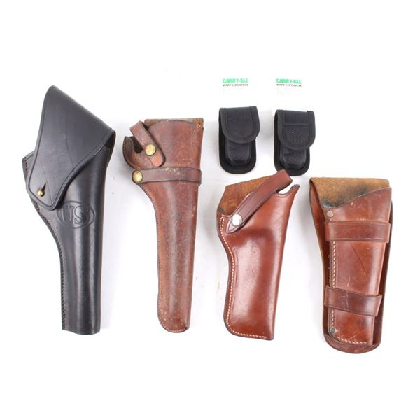 Leather Pistol Holsters & Knife Pouch Collection