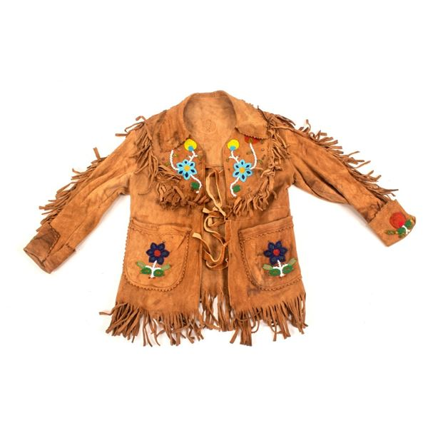 Crow Beaded & Fringed Hide Scout Jacket c. 1890-