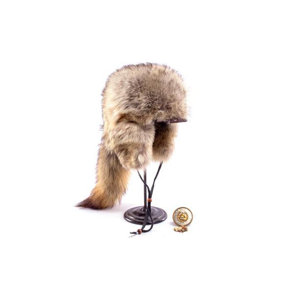 Coyote Fur Hat, Elk Teeth,& Silver Snuff Lid