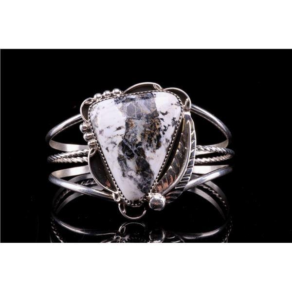 Navajo B. B. Tsosie Silver White Buffalo Bracelet