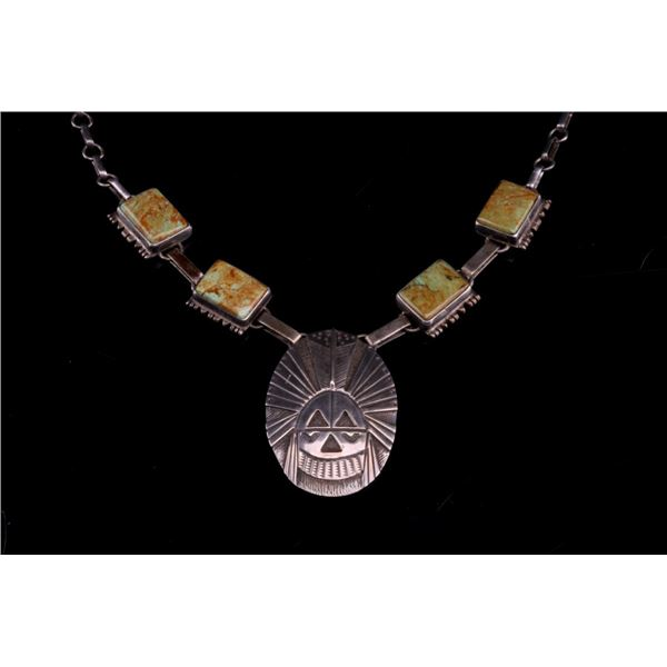 Navajo L Begay Silver & Turquoise Kachina Necklace
