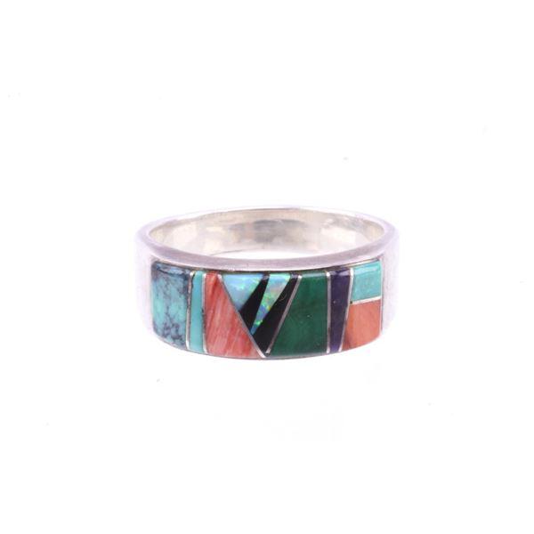 Navajo JD Calvin Micro Inlaid Men's Ring