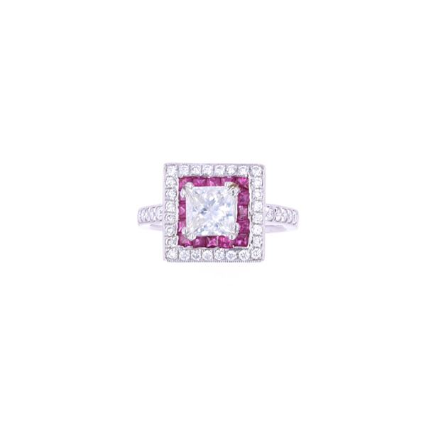 Art Deco Antique Style Diamond Ruby Platinum Ring