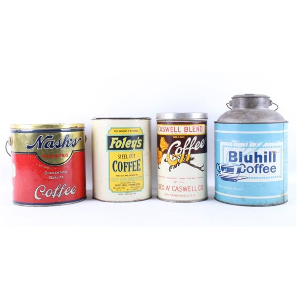 Collection of Four Large Coffee Tins