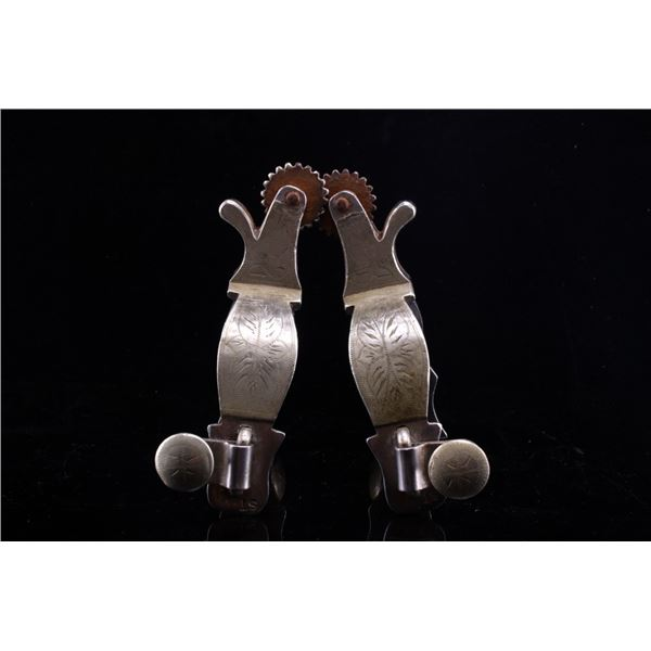 Stan Ruano Double Mounted Silver Spurs c. 1930's