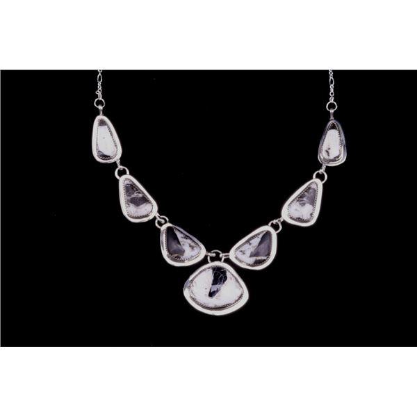 Navajo H. Tsosie Silver & White Buffalo Necklace