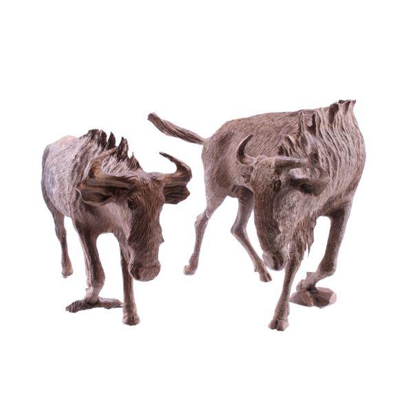 South African Carved Leadwood Wildebeest Pair