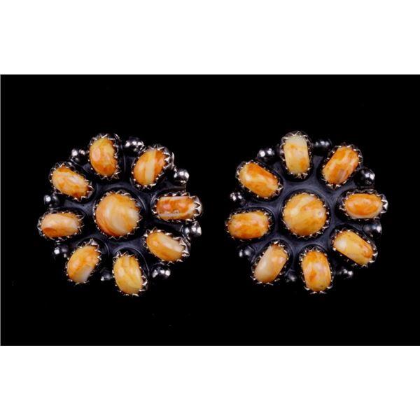 Navajo Dine Mcperry Silver & Carnelian Earrings