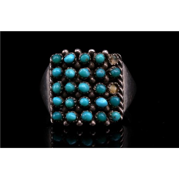 Hopi Lahaleon Silver & Turquoise Cluster Work Ring