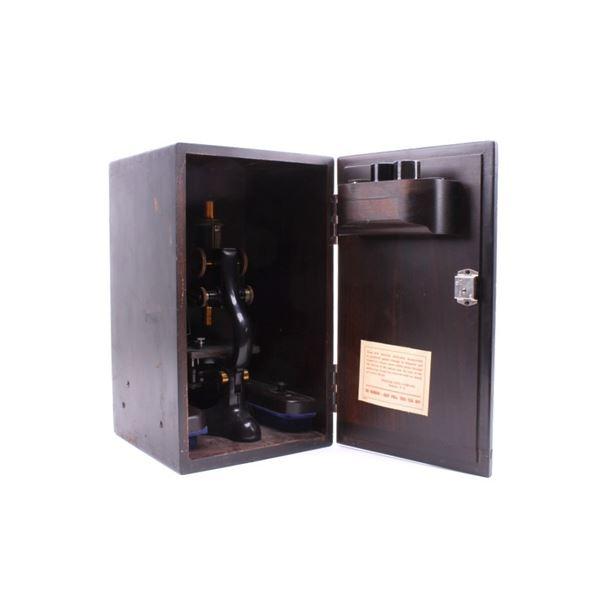 Basch & Lomb Optical Microscope & Case circa 1915