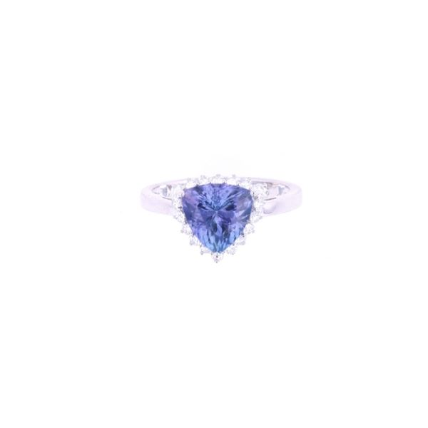 Rare Trillion 2.62ct Tanzanite & Diamond 18k Ring