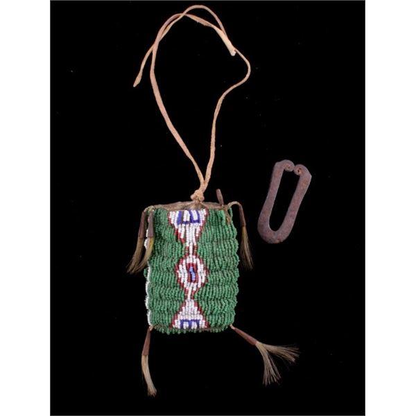 Comanche Strike-A-Lite Iron & Beaded Bag c. 1880