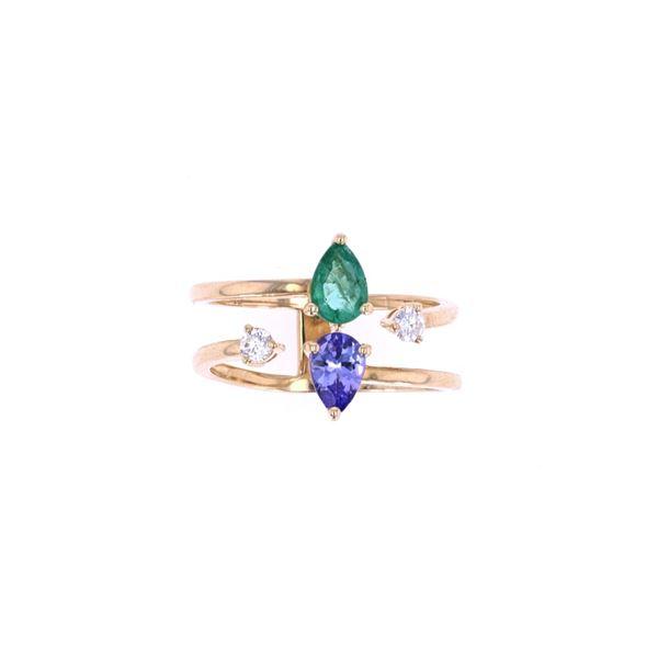 Emerald & Tanzanite Diamond 14k Gold Ring