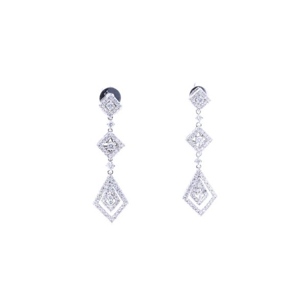 Art Deco Diamond 18k White Gold Earrings