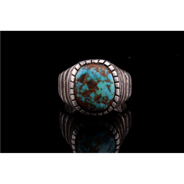 Navajo Old Pawn Silver & C. Creek Turquoise Ring