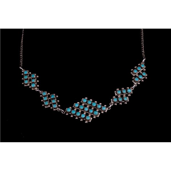 Navajo Silver & Turquoise Cluster Work Necklace
