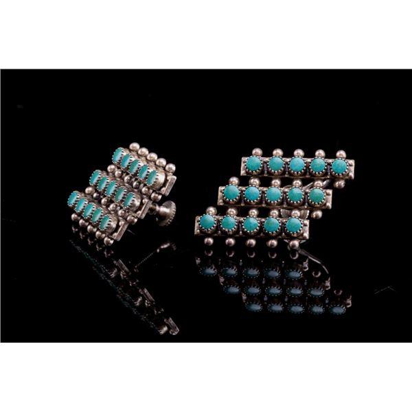 Navajo Silver & Turquoise Cluster Work Earrings