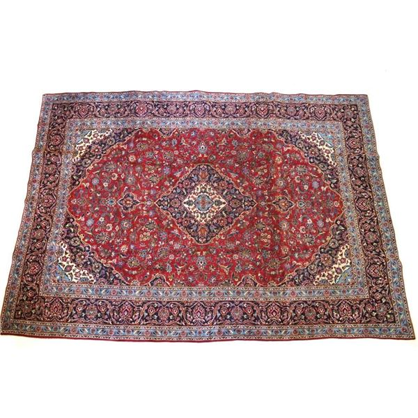 1930's Kashan Persian Hand Knotted Wool Area Rug