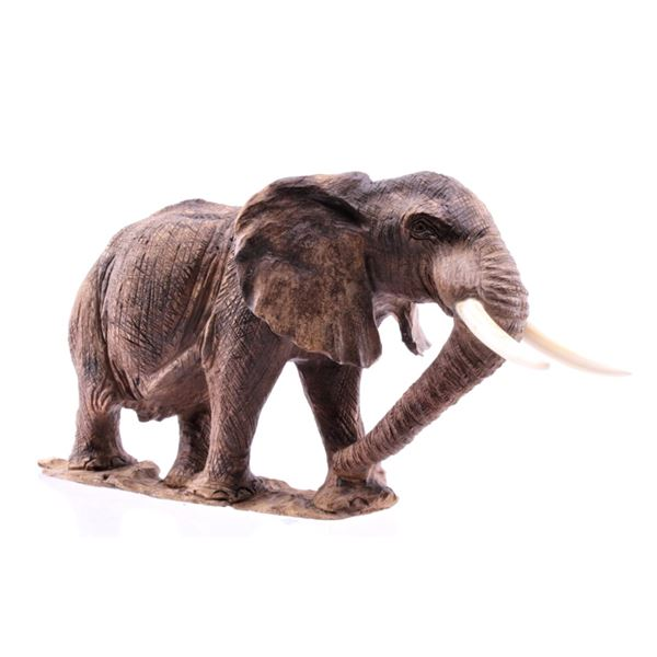 South African Leadwood & Tusk Carved Elephant