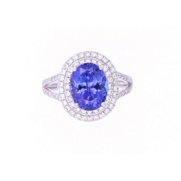 Opulent 3.05cts Tanzanite & Diamond Platinum Ring