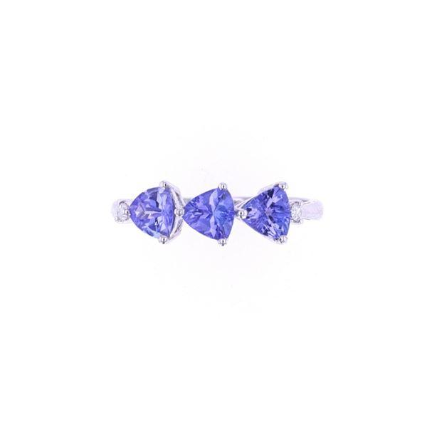 Tanzanite Triplet Set Diamond 14k Gold Ring