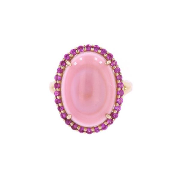 Pink Queen Conch & Pink Sapphire 14k Gold Ring