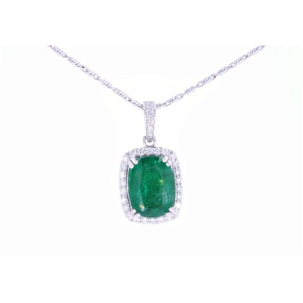 Natural 5.56ct Emerald & Diamond 18k Gold Necklace