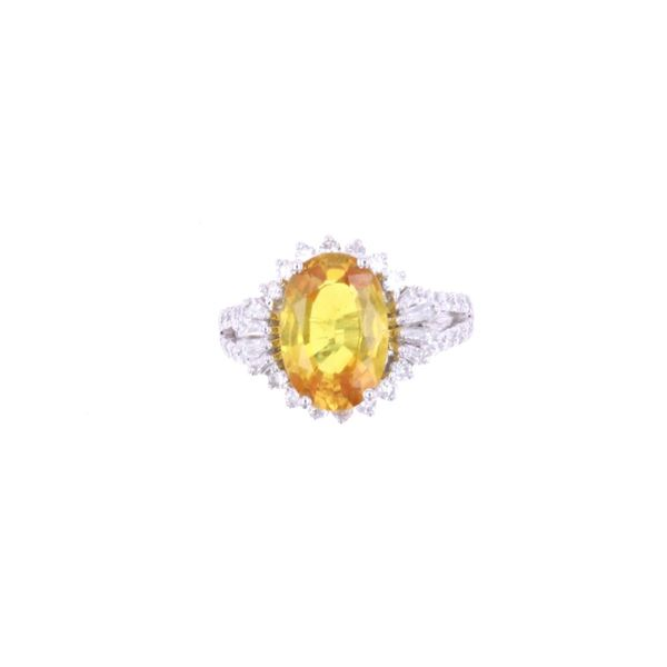 Art Deco 4.43ct Orange Sapphire & Diamond Ring