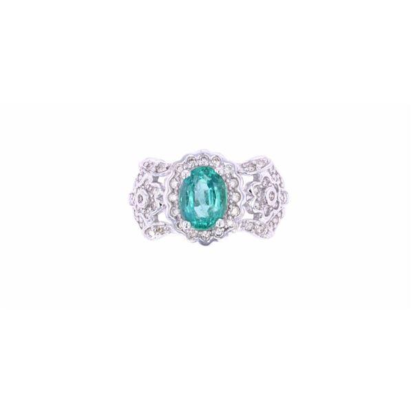 Art Nouveau 1.24 Carat Emerald & Diamond 14k Ring